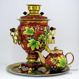 Набор «Рябина» самовар расписной, поднос, чайник